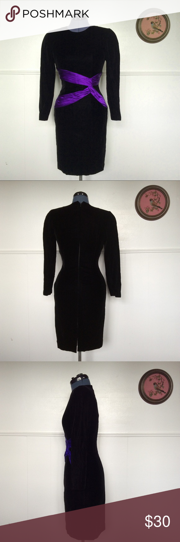 Vintage s black velvet dress prom