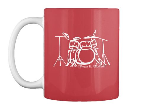 Drumset Mug Bright Red Front