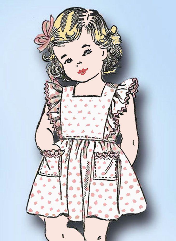1940s Vintage Toddler Girls Pinafore Dress 1943 Advance Sewing Pattern 3410 Sz 3 #Advance #DressPattern