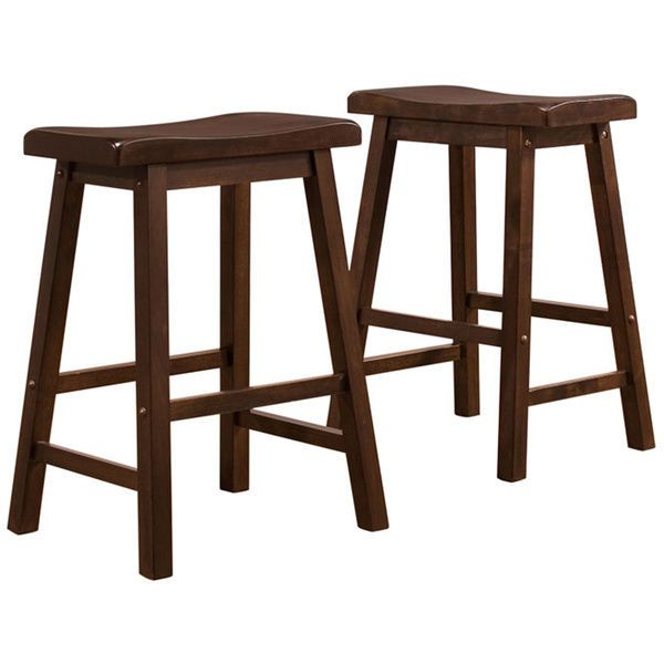 Cherry Brown Wood Saddle Back 24 Inch Kitchen Low Counter Height Stool Set Of 2 Tribeccahome