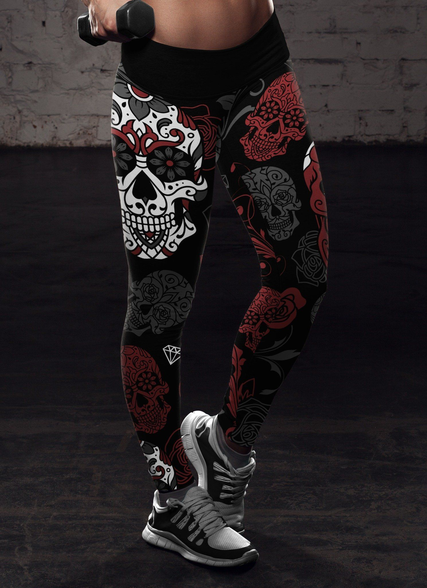 cc401918199f6 Black and Red Sugar Skull Leggings | DIA DE LOS MUERTOS | Pinterest ...