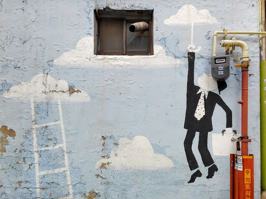 """Street Art. """" Today, I feel so good that I could fly in the sky. """" (^ ^) - 송민호 (Song Min-ho) - Google+"""