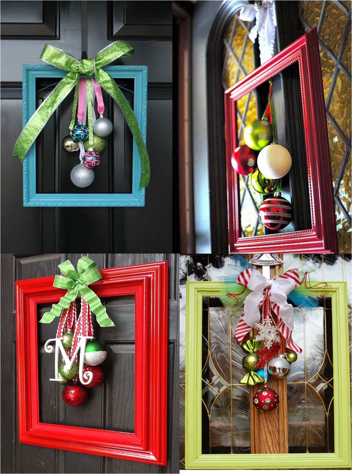 Wooden outdoor christmas decorations - Elegant And Unusual Door Decorations Made From Picture Frames Ribbons And Baubles