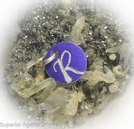 Letter R Hand Engraved Purple Personalized Small by superioragates, $4.00