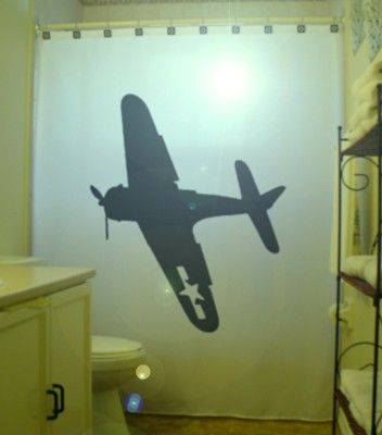 B-52 Bomber Shower Curtain Airplane wwII Military Aircraft Bathroom Decor Kids Bath Plane World War Two 2 b-17 Choose 1 of 5 Designs
