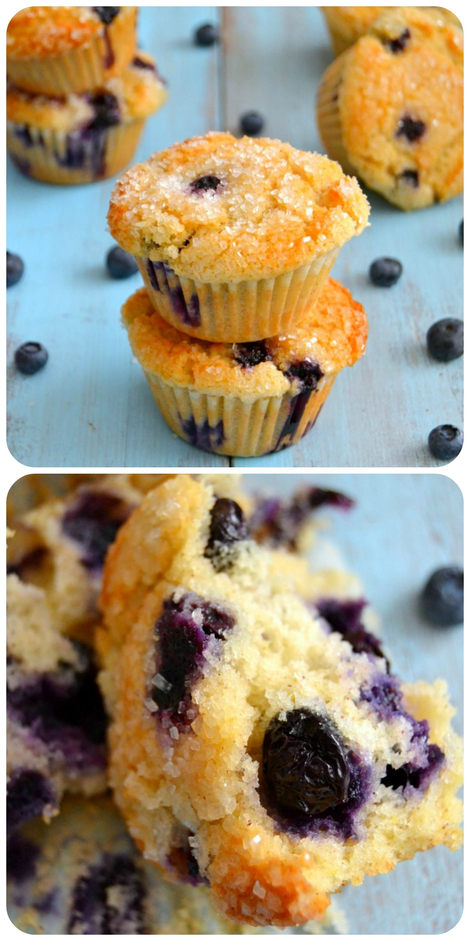 The BEST Blueberry Muffins!  These plush muffins are soft & tender, are bursting with fresh blueberries and have the most delectable crispy & crunchy sugared top!  A MUST make!