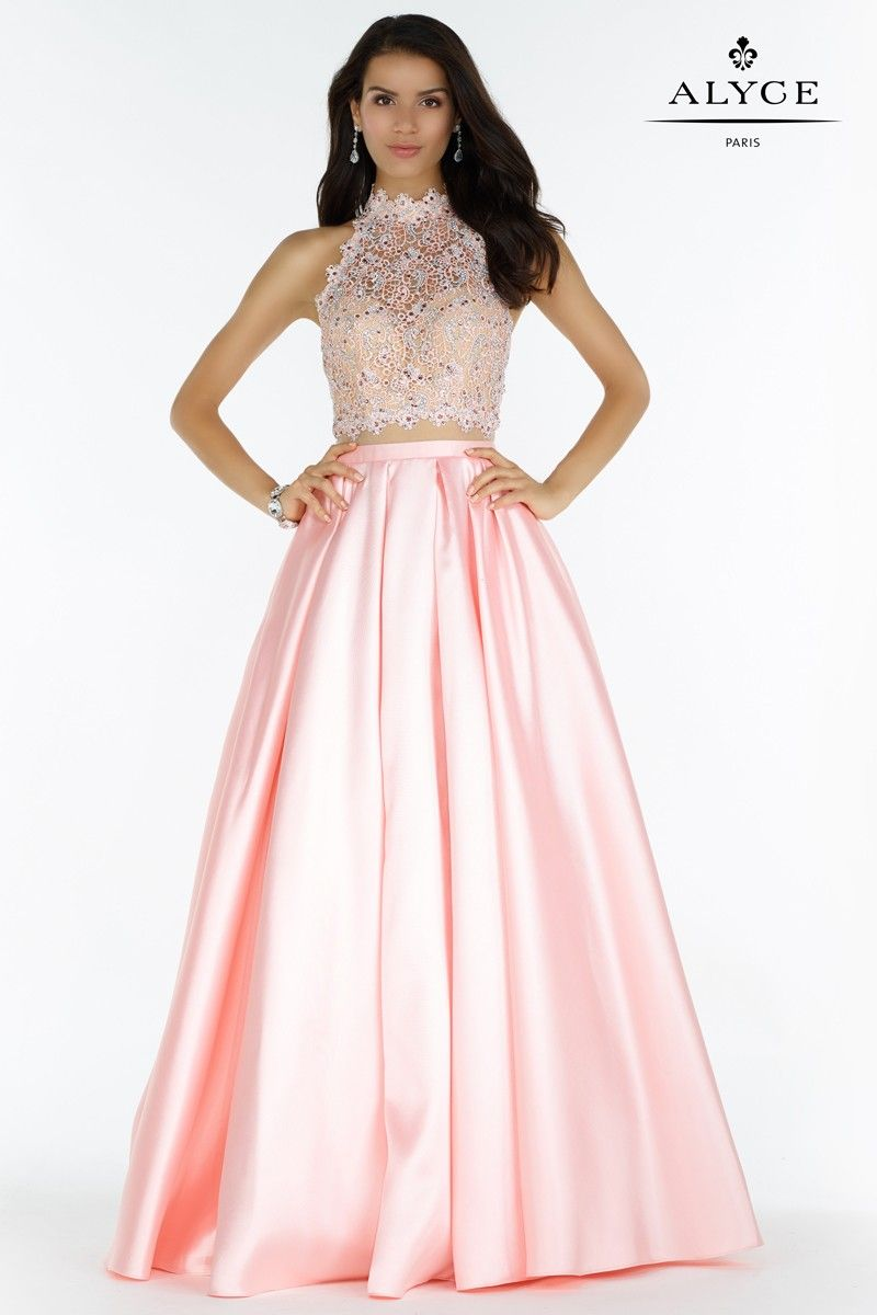 The hottest dress designer hands down alyce paris check out alyce prom 6738 full mikado skirt lace halter crop top with a beautiful strappy back ombrellifo Image collections