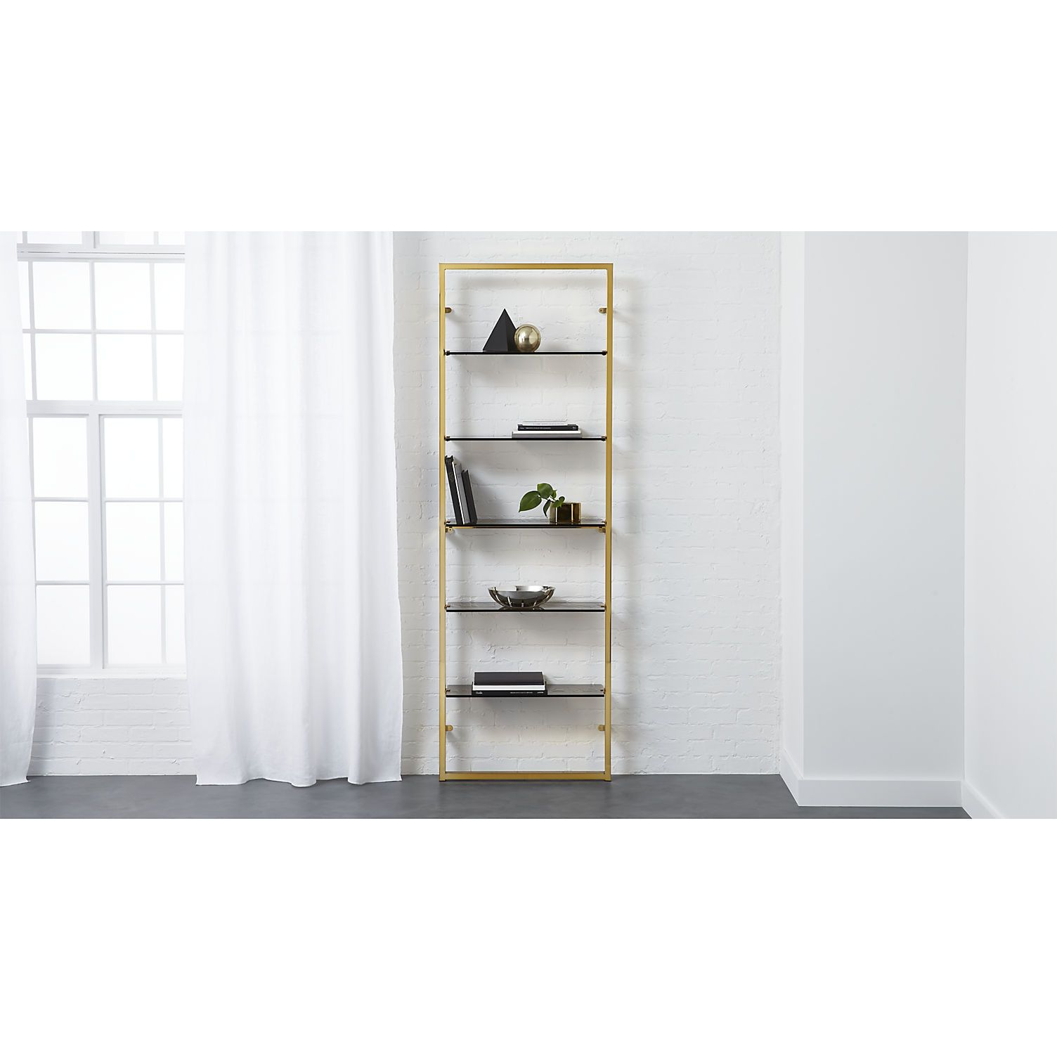 "Tesso Bronze 84"""" Wall Mounted Bookcase"