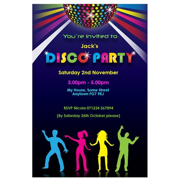 disco themed personalised party invitations - Customized Party Invitations