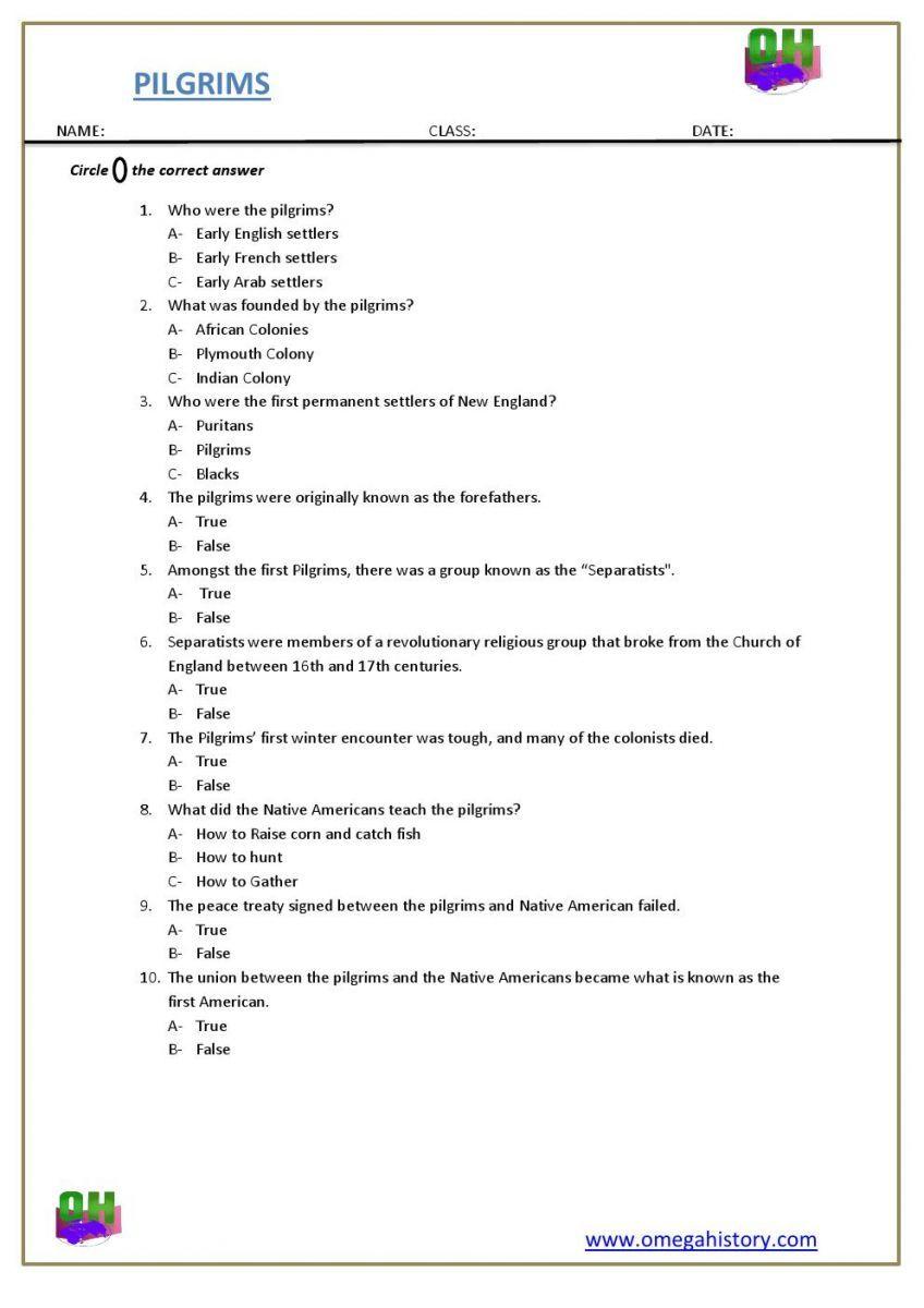 Pilgrims History Of Early United States History Trivia Printable Worksheet History Worksheets Pilgrims History History Facts