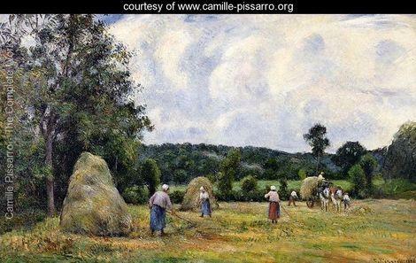 The Harvest at Montfoucault I - Camille Pissarro - www.camille-pissarro.org