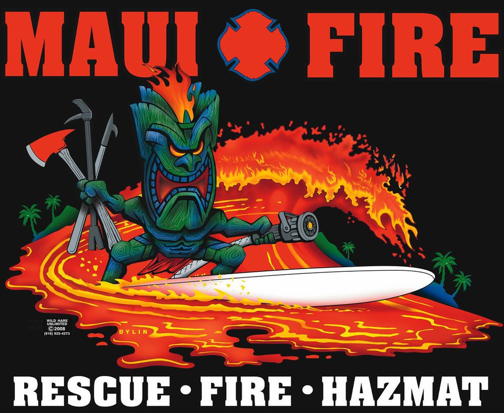 T shirt design hawaii - Firefighter T Shirt Maui Fire Tiki Fire Station Tee Hawaii Fire Dept T Shirt In Clothing Shoes Accessories Men S Clothing T Shirts