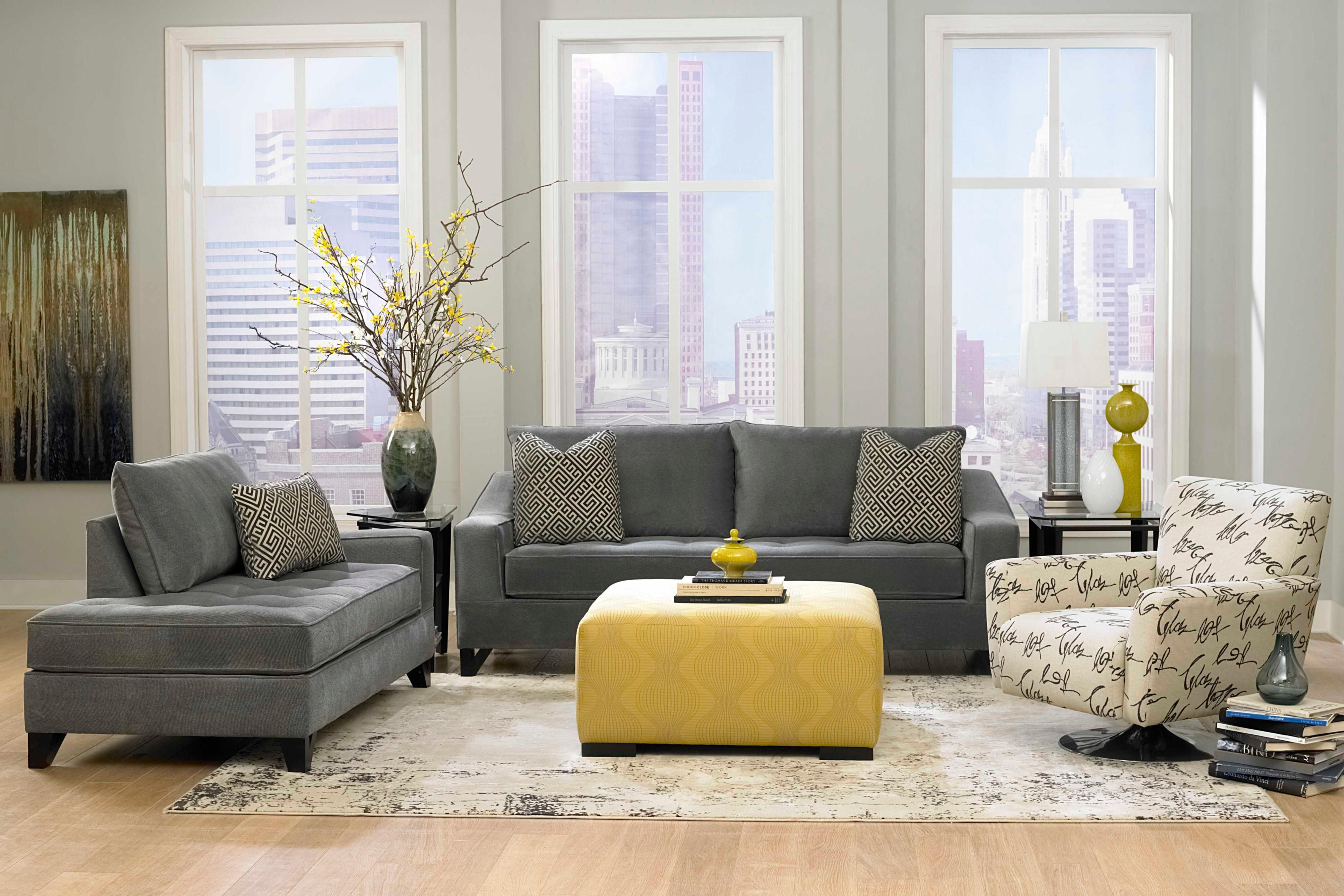 Living Room, Dark Grey Sofas With Grey Wall Paint Decorating Also Yellow  Bench Table Also