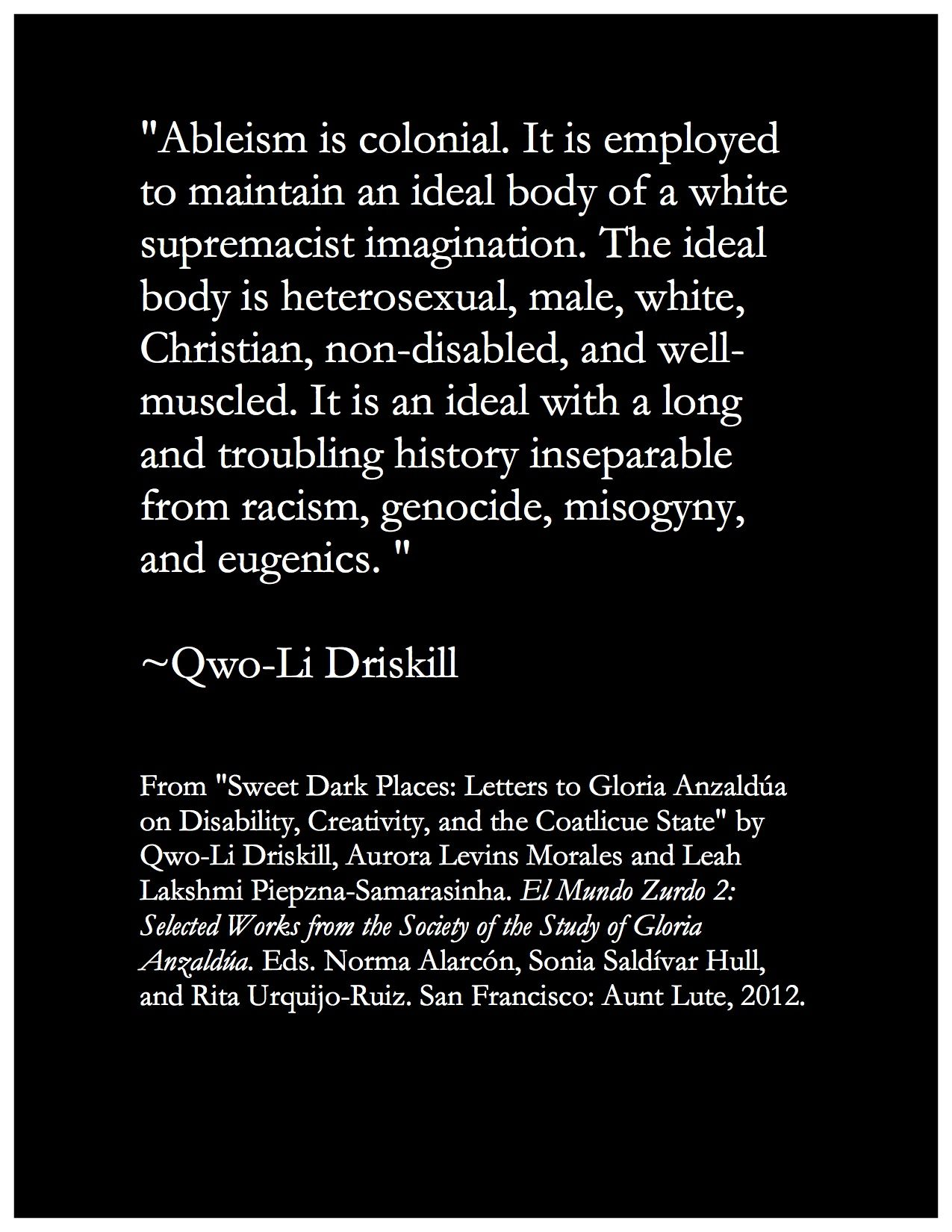 Quotation From Wgss Faculty Dr QwoLi Driskill From Sweet Dark