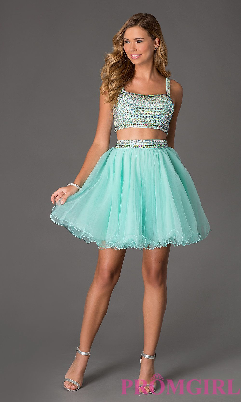 Two Piece Crop Top Short Prom Dress Style: NA-6031 Detail Image 1 ...