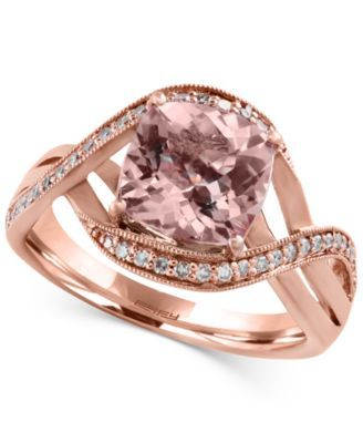 d13eca6a1017 Blush by EFFY Morganite (1-5 8 ct. t.w.) and Diamond (1 6 ct. t.w.) Swirl  Ring in 14k Rose Gold