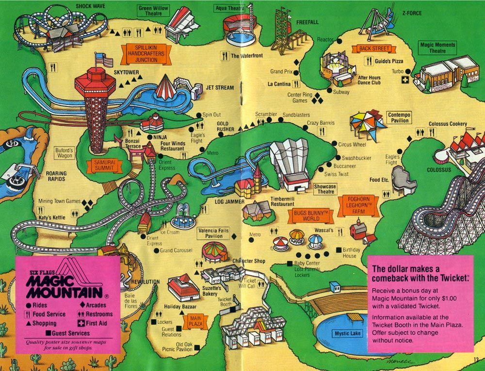 Six Flags Magic Mountain Map 1988 Six Flags Magic Mountain Map Six Flags Shock Wave Map