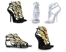 13b4779389a Women Angel Wing Heels Open Toe Leather Gladiator Party Roman Pumps Sandals  Shoe