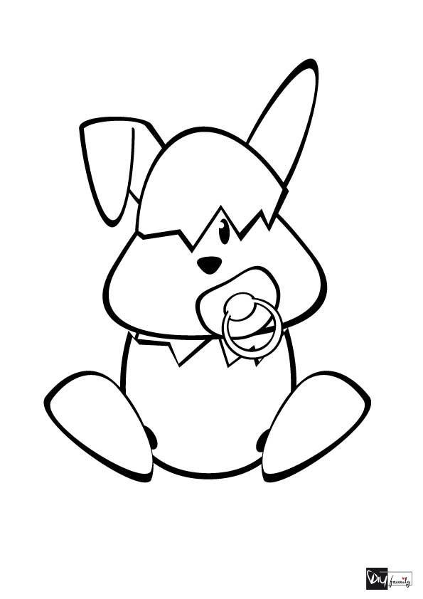 Ausmalbild für Ostern Malvorlagen Babyhase Lustige