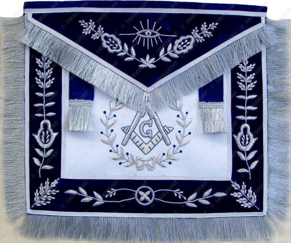 Master Mason Royal Blue Satin Blue Lodge Apron Silver  Bullion Freemason Regalia