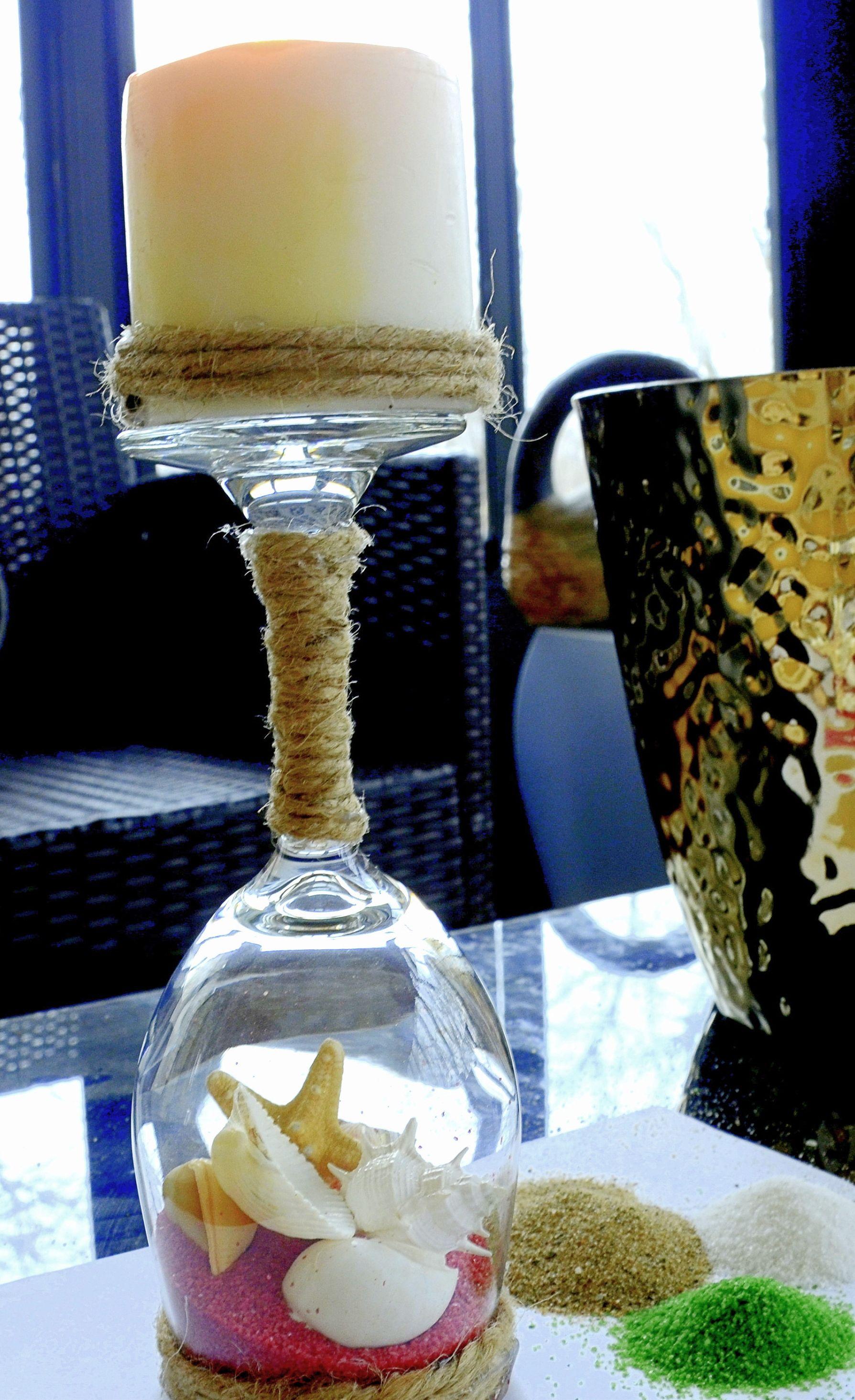 Wine Glasses Candle Holders Beach Terrariums Wine Glass Candle Holder Candle Holders Candles