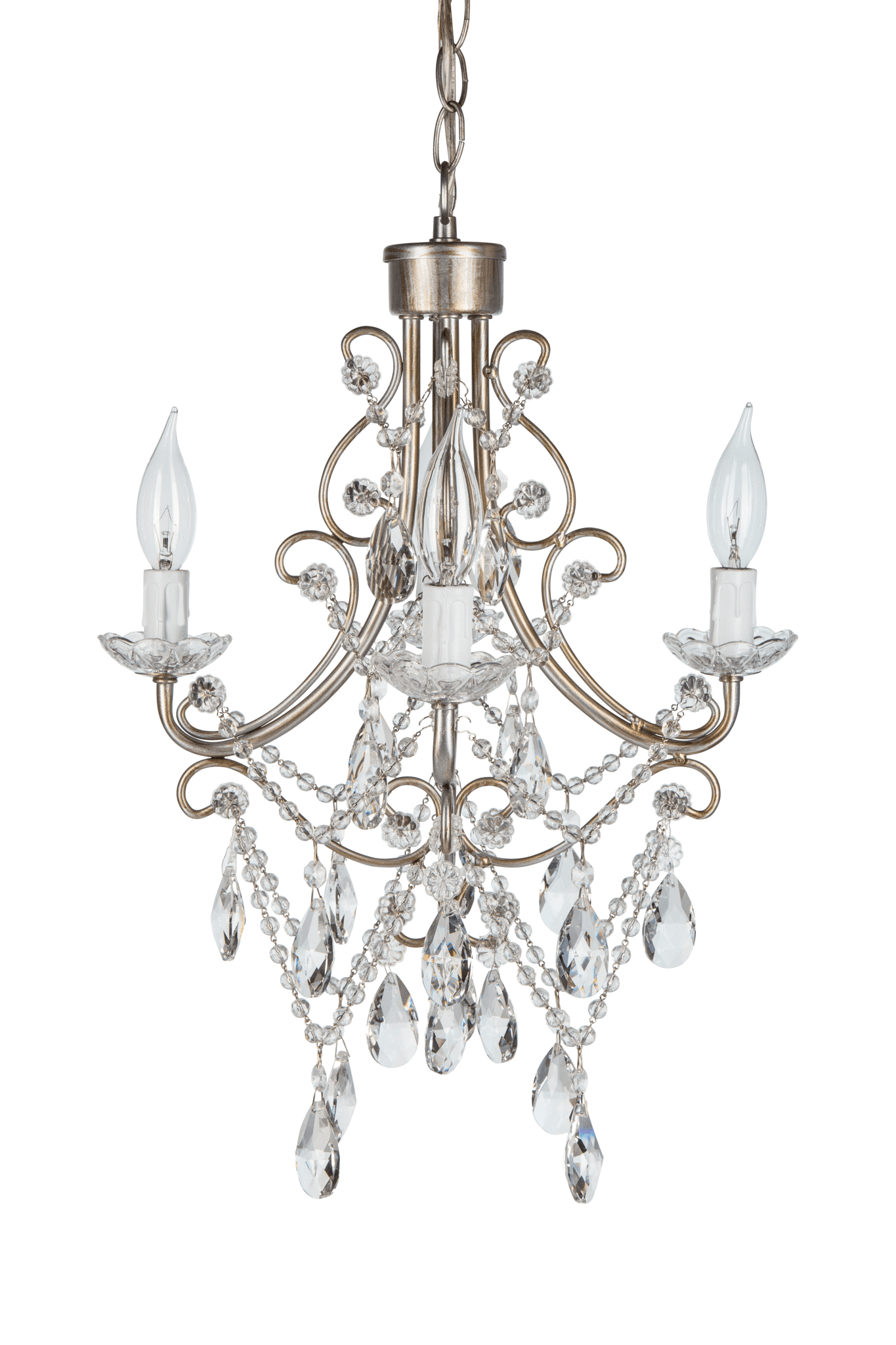 Antique 4 Light Crystal Chandelier Silver