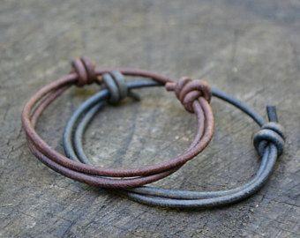 Simple Adjule Leather Bracelet Plain Minimal Men