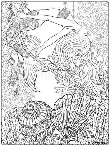 Hand drawn mermaid with gold fish in underwater world coloring page ...