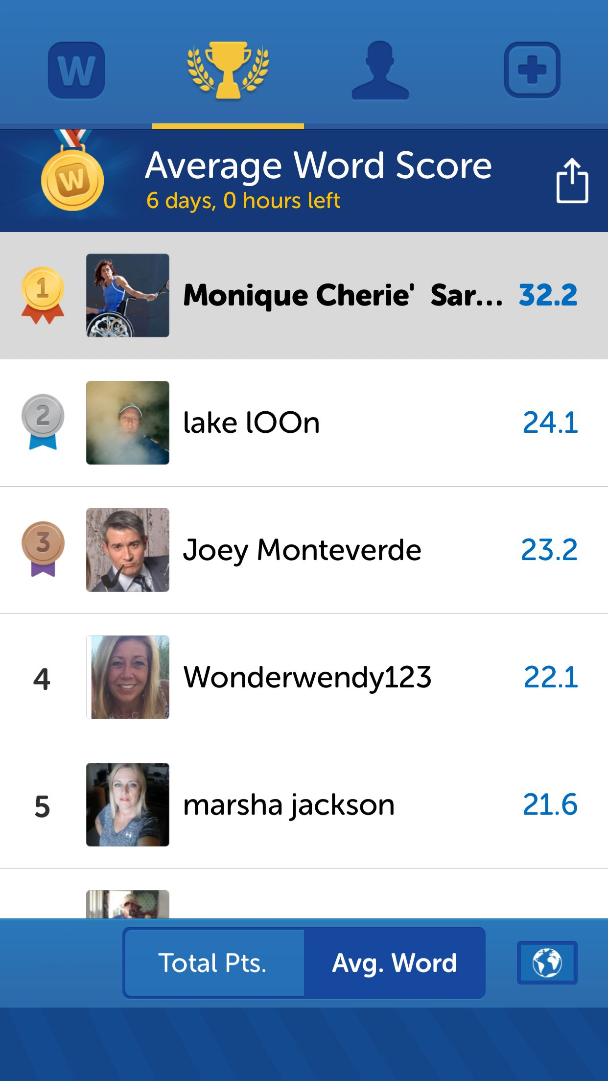 Check out my position on the Words with Friends leaderboard  I'm #1