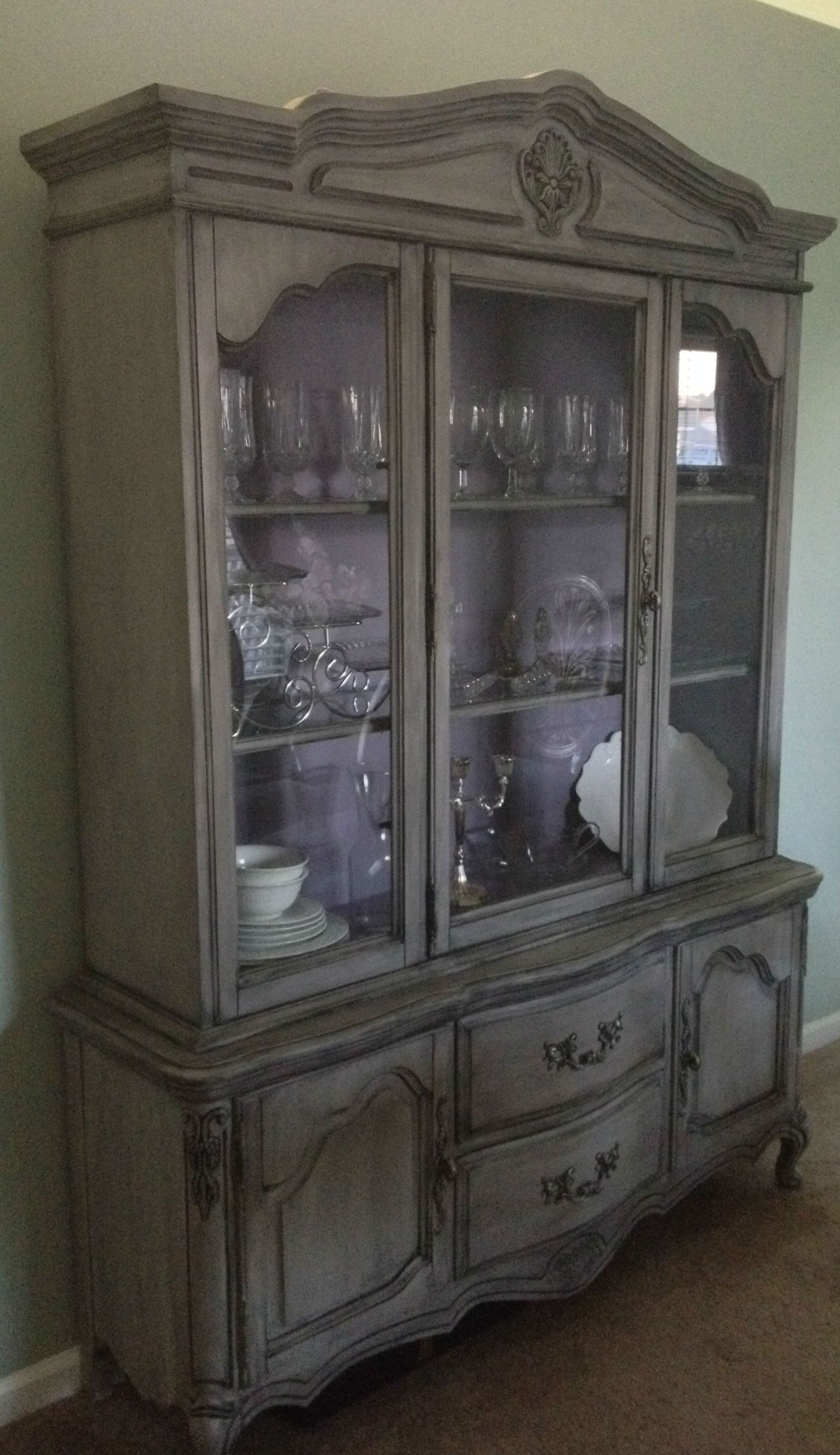 Painted French Provincial China Cabinet  Gray and Purple