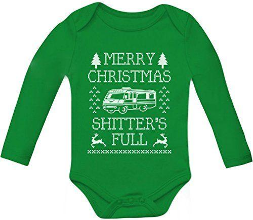 4006ae71a TeeStars - Merry Christmas Shitters Full Baby Long Sleeve Onesie 0 - 3  months Green TeeStars