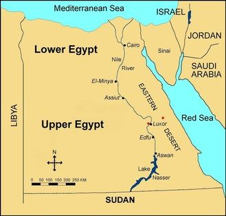 Find Facts About Ancient And Modern Egypt Religious And Cultural - Map of egypt showing upper and lower