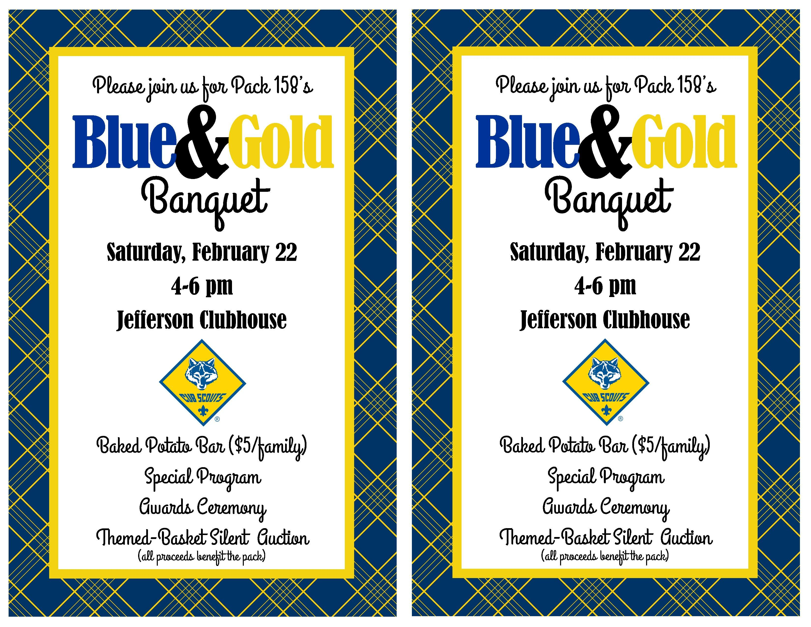 Another idea for a cute blue gold banquet invitation for Cub scout blue and gold program template
