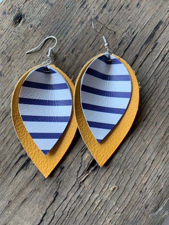 Photo of Striped Yellow Genuine Leather Earrings, Mustard Blue and White Leather Jewelry, Summer Accessory, Gifts for Her, Gifts for Grad