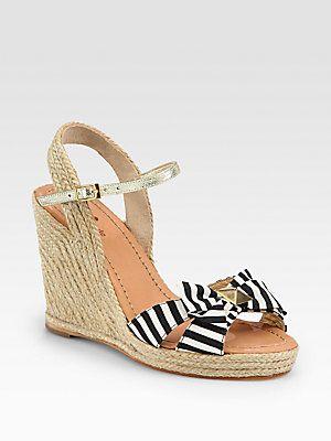 274468e384be6 Kate Spade New York Carmelita Striped Canvas Bow Espadrille Wedges. The  perfect fun beach wedding shoes!