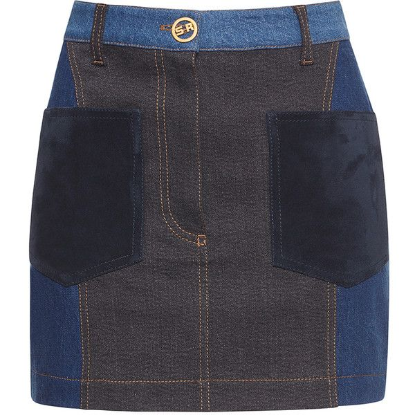 Sonia Rykiel Patchwork Denim Skirt (11.725.470 VND) ❤ liked on Polyvore featuring skirts, mini skirts, blue skirt, sonia rykiel, blue denim mini skirt, denim mini skirt and blue mini skirt