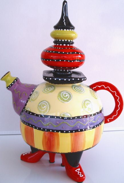 """""""Red Shoes"""" teapot by Cybill Ceramics"""