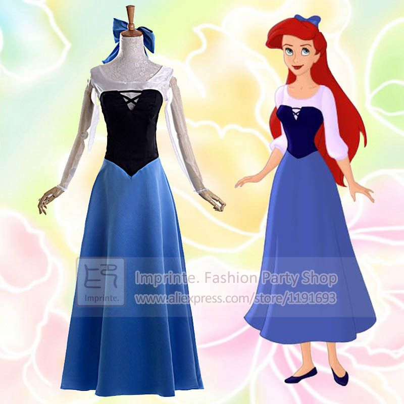 Princess Ariel Adult Costume Blue The Little Mermaid Cosplay Dress A Line-in Clothing from  sc 1 st  Pinterest & Princess Ariel Adult Costume Blue The Little Mermaid Cosplay Dress A ...