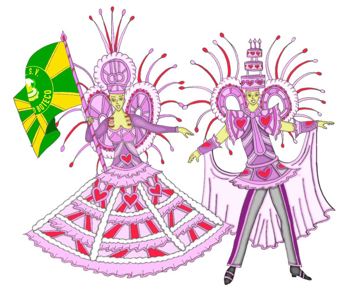 Mestre Sala E Porta Bandeira Desenhos De Carnaval