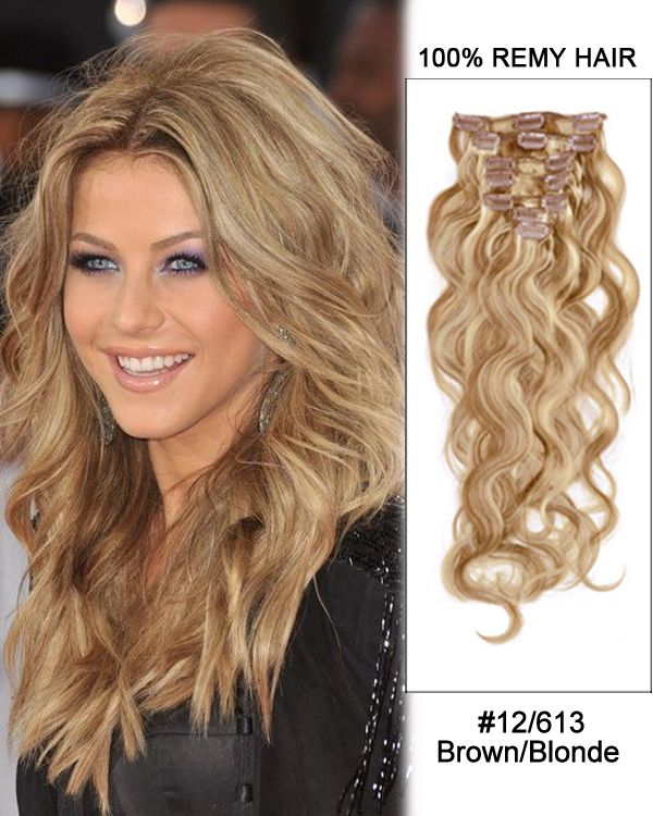 14 7pcs 12613 Brownblonde Body Wave 100 Remy Hair Clip In Human