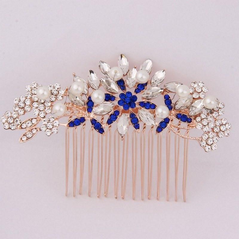 Flower Bridal Hair Comb Rose Gold Bridesmaid Jewelry Bridesmaid