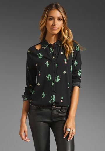 2099f0410350a3 SOMETHING ELSE BY NATALIE WOOD Cactus Shirt in Black at Revolve Clothing -  Free Shipping!
