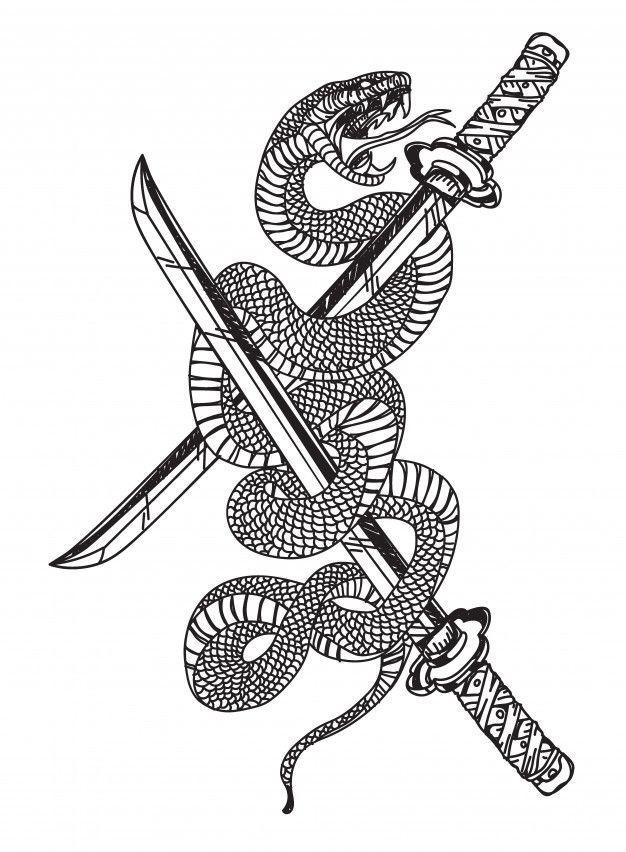 Serpiente Y La Espada Disenos De Tatuaje Japones Arte De Tatuaje Japones Tatuaje De Serpiente Japonesa