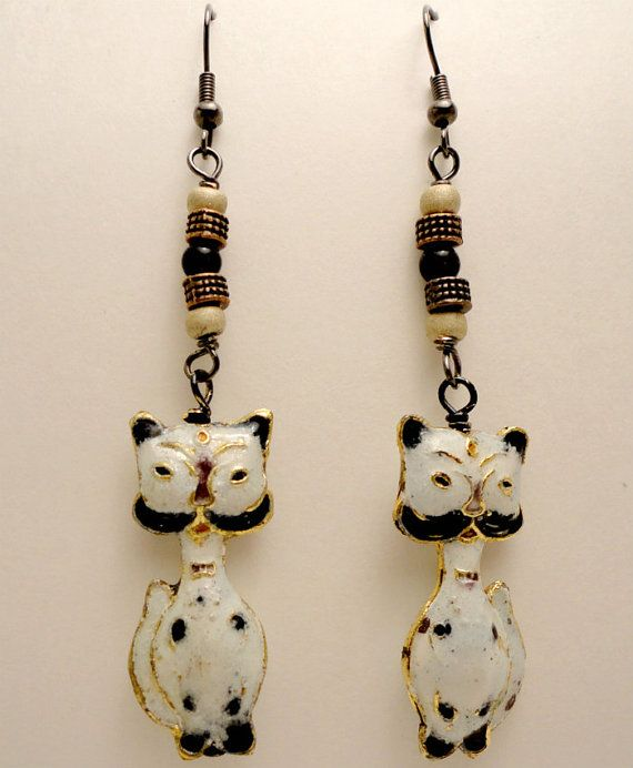 Vintage Cats Metal Cat Glass Copper Black by MajaEarrings on Etsy, $18.00