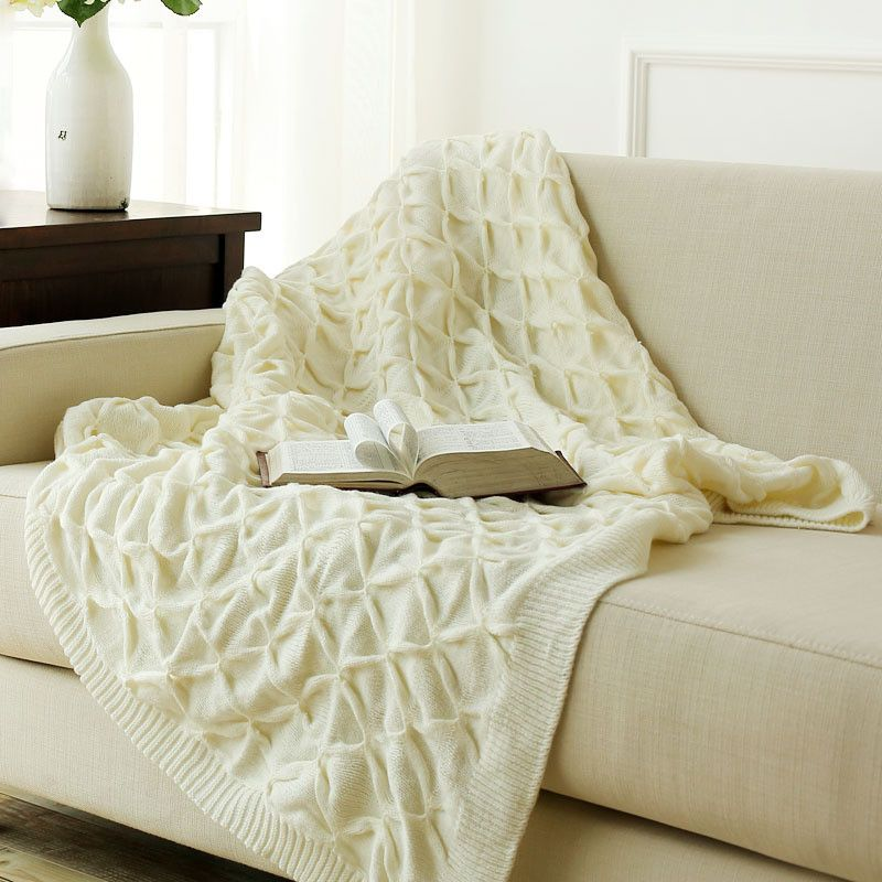 Throw Blankets For Couches Inspiration Knitted White Throw Blankets Bed Blanket100% Cotton Warmcozy Decorating Design