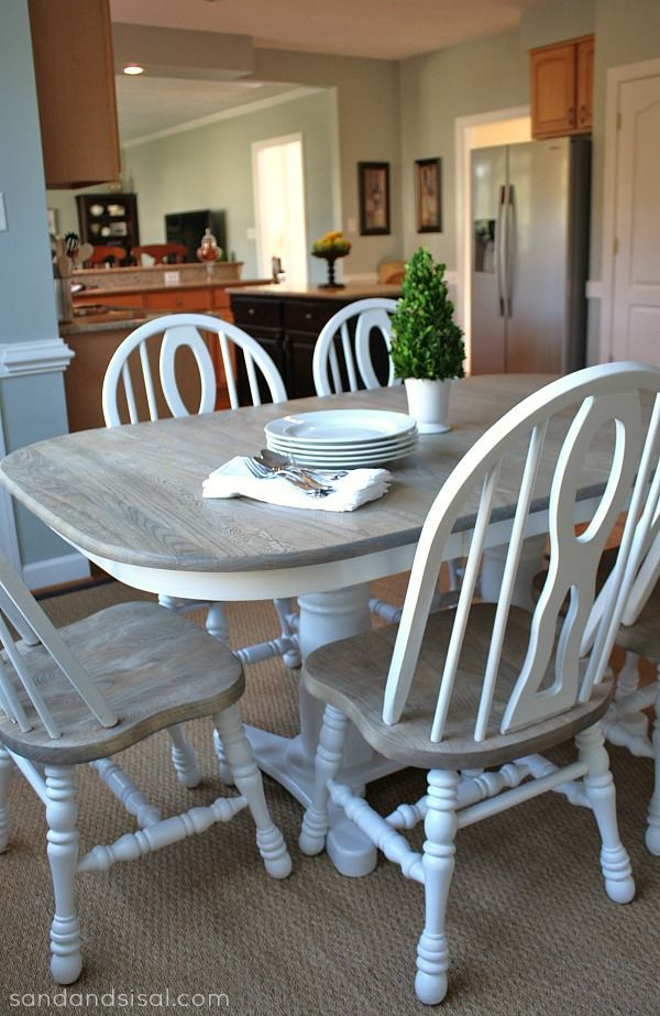 My Freshly Painted Dining Table With Different Coloured Chairs 38 A Whitewash Affect Risa Gross Learn The Kitchen Table Redo Kitchen Table Oak