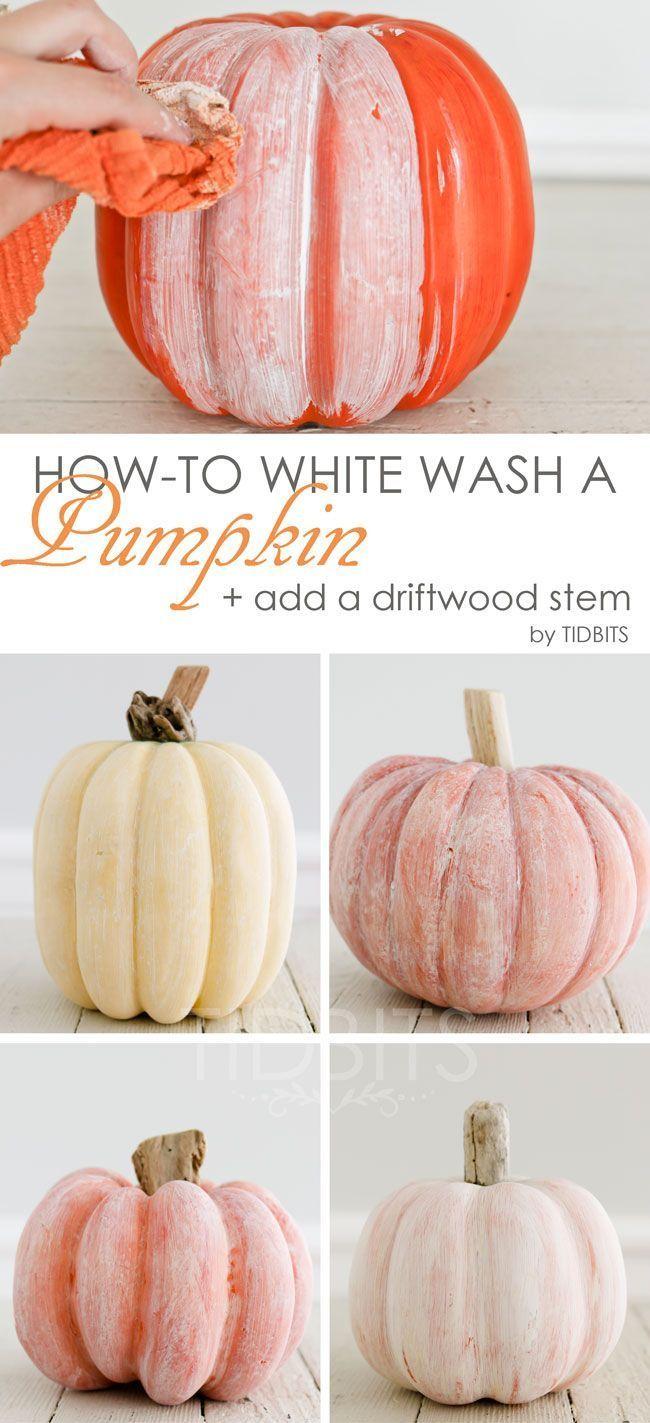 How-to White Wash a Pumpkin + Add a Driftwood Stem - Tidbits #falldecor