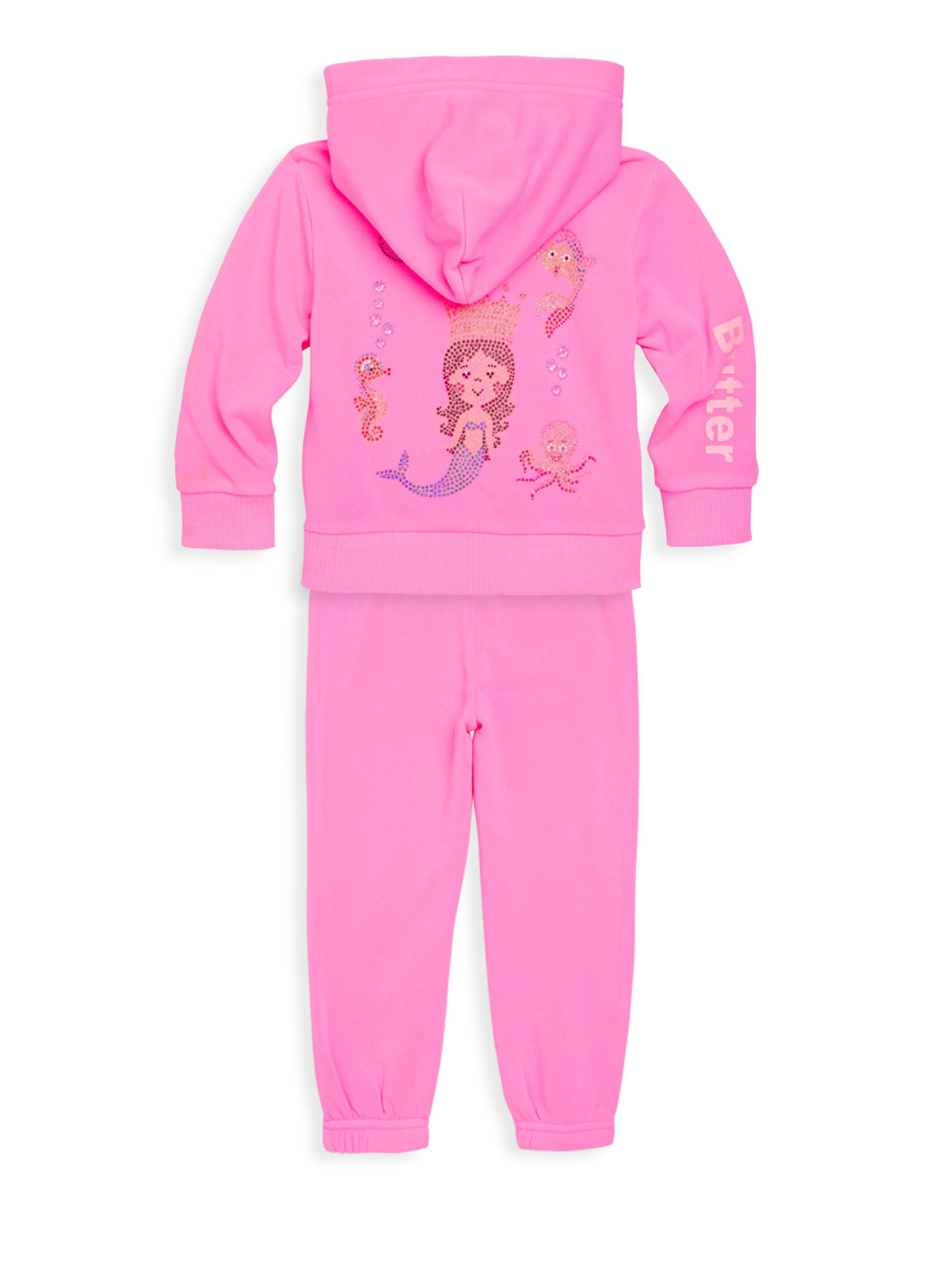 0e72bc02b Butter Baby s   Little Girl s Two-Piece Burnout Fleece Tracksuit ...