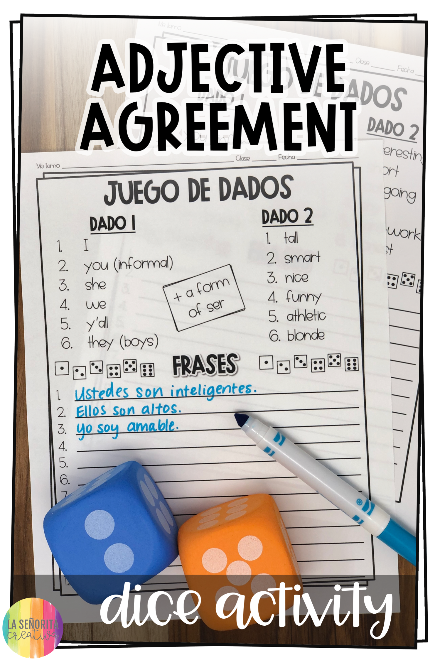 Spanish Adjective Agreement Dice Activity