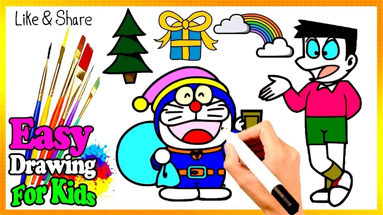 Drawing Cute Doraemon Nobita Coloring Book Kids Learn Easy Painting Co Drawing For Kids Kids Coloring Books Easy Drawings